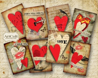HUGE LOVE HEARTS - Gift Tags Digital Collage Sheet Valentine 2.5x3.5 inch size images Printable Download