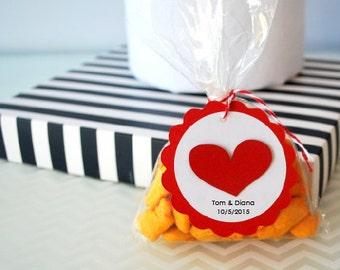 Etiquettes mariage, amour coeur Tags, personnalisé partie Favor Tags A1232 de mariage