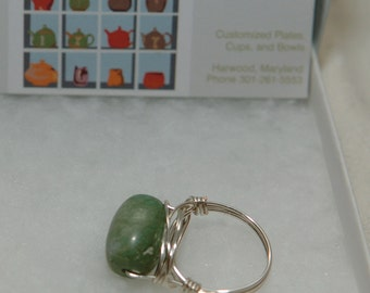 Wire Wrapped Ring with Green Variegated Stone, Silver