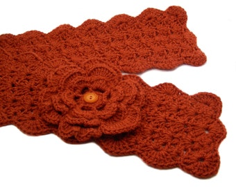 Burnt Pumpkin Crochet Scarflette with Flower, Buttoned Scarflette, Buttoned Neck Warmer, SC112-01
