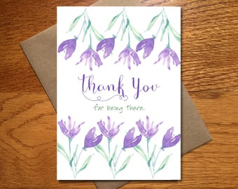 Every Day Spirit / Watercolor Thank You For Being There Card / Floral Thank You Card / Beautiful Thank You Card / Pretty Thank You / 5x7