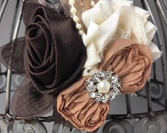 Brown hair clip, brown cream and tan hair clip hair accessory, brown hair flower, brown girls hair clip