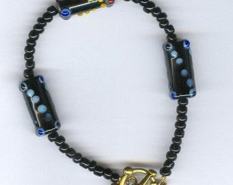 Black Italian Lampwork Beaded Bracelet