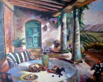 Waiting for harvest, original oil painting for sale, landscape