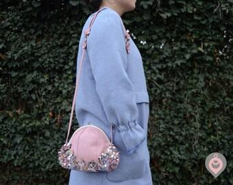 Light pink leather bag with beaded sakura branch