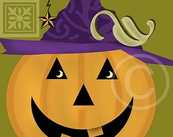 Halloween Art, Halloween, Illustration, Circle Art, Jack O'Lantern, Orange, Green Purple, 8x10