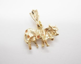 Genuine Solid 10K Yellow Gold Cow Pendant #4362