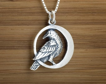 STERLING SILVER Raven Crescent Moon Pendant Necklace or Earrings My ORIGINAL- Chain Optional