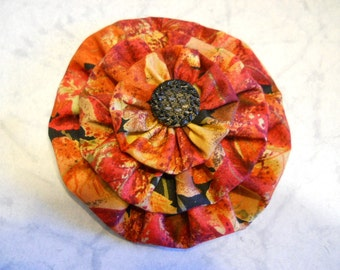 Fabric Flower Pin, Fabric Hair Clip in Fall Color's, Fashion Accessories, Purse Decoration, Fabric Flower Gift, Fall Brooch