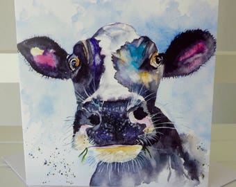 Moo - a greetings card from a watercolour by Pauline Merritt