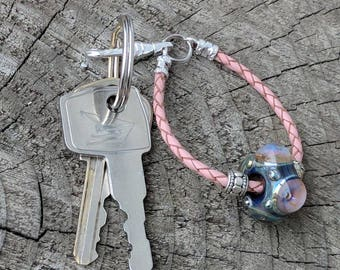 Key Fob, Purse Charm, Zipper Pull, Western Style Keychain, Bridesmaid Gift, Housewarming Gift, Country Style, Lampwork Big Hole Bead, Canada