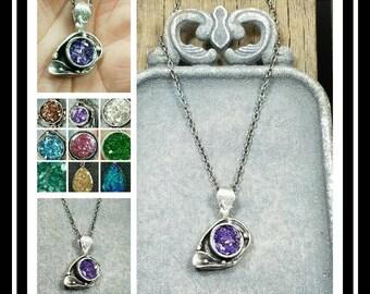 Memorial Cremation Ash Pendant Necklace/Pet Memorial Jewelry/Cremation Jewelry/100+ Color Options
