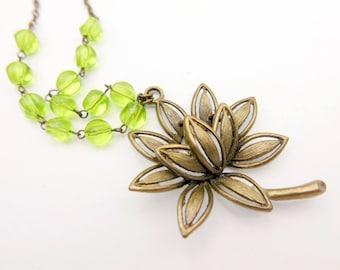 Bouddha Necklace, Lotus Necklace, zen Necklace,