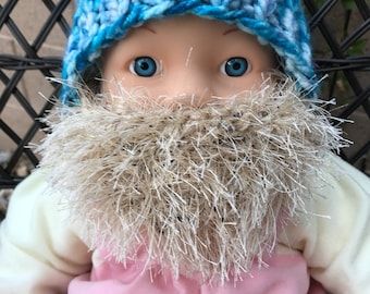 READY TO SHIP Baby Bearded Beanie - Blue White Hat with Blonde Beard 0-6 months Lumberjack