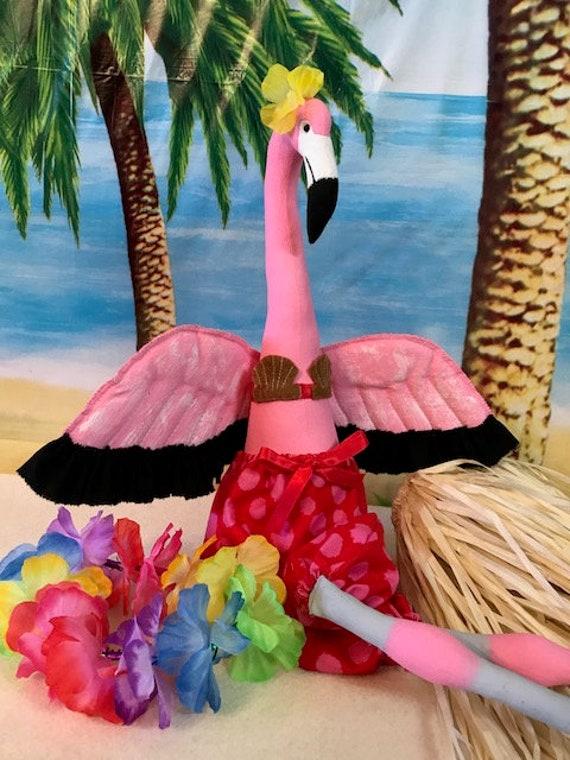"Flamingo cloth doll E-pattern 26"" tall Summer Beach Hawaiian"