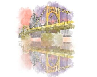 Pittsburgh Sunset Sister Bridge - Ink and Watercolor Drawing