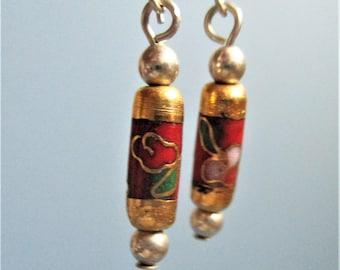 Cloisonne Dangle Earrings Vintage Drop Earrings Pierced Tube Earrings Red & Gold Gilded Drop Earrings Boho Style Jewelry Gift for Her