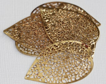 20 pcs of gold plated filigree leaf focal 36 X24mm