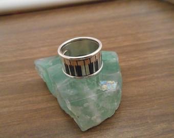 sterling silver piano keys ring