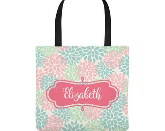 Personalized Tote Bag - Pastel Flowers -  Custom Bag - Three Sizes to Choose From - Floral pattern great for adults, teens, or children