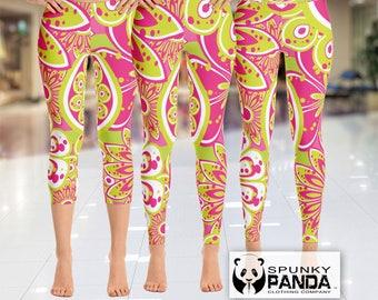 Abstract Funky Floral Leggings, Pink and Green Flower Legging, Custom, Yoga Leggings, Printed Leggings, Yoga Pants, Boho Leggings, Capri
