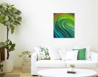 Green wave painting Green Abstract waves painting Green wall art Canvas wall art Abstract ocean Giclée print gallery wrapped canvas 20x24