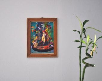 """Poster framed collage, feminist poster, poster surreal pop art Symbolist, time frame, original gift idea. """"Vénus""""."""