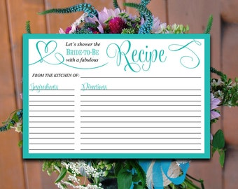 "Bridal Shower Recipe Card - Teal Recipe Card Printable 4""x6"" Printable Wedding ""Love"" Script Printable Recipe Card - Teal Wedding Shower"