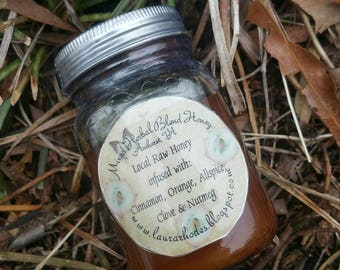 Herbal Infused Raw Wildflower Va Honey Cinnamon Orange Spice  *6 oz*