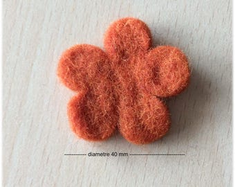 pretty little felt 40 mm apricot flower