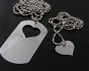 Matching Couple Necklace, Dog Tag and Heart Necklaces, Partner Necklaces, Friendship Necklaces, I carry your heart with me Necklaces, N1117