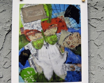 Butterfly Hands Collage Art Giclee Print 8 x 10 Letting Go