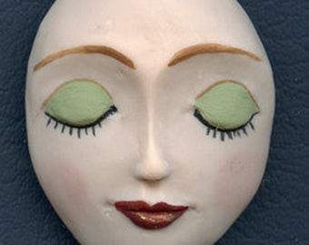 """Polymer Clay Larger 1 7/8"""" x 1 1/2"""" Detailed  Art Doll  Face  Cab  FLG 1"""