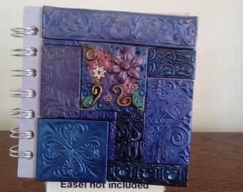 Blue polymer clay mosaic spiral bound notebook