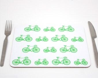Bike Placemat | Green Bike Placmeat | Cycling placemat | Placemat | Tablemat | Childrens placemat | Kids placemat