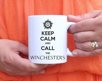 Supernatural mug, trap has demons, keep Calm and Call the Winchesters, castiel, Sam and Dean, anti possession