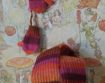 Knitted  Babymittens & Scarf Wool