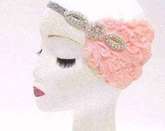 Silver Blush Pink Peach Feather Headband 1920s Flapper Headpiece Vintage 2776