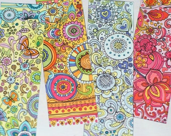 Sue Zipkin printable set of 4 whimsical bookmarks for coloring