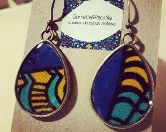 Earrings drops/wax fabric yellow and blue resin/limited edition