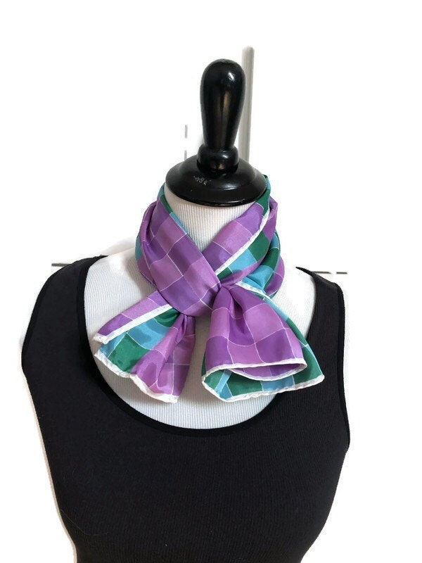 Vintage Purple Green and Blue Plaid Geometric Print Scarf