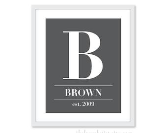 Custom Family Monogram -  Art Print  -  Charcoal Slate Grey -  Elegant Decor - Modern Wall Art