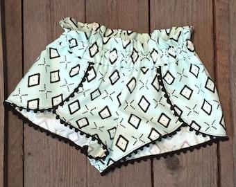Mint Green and Black Pom Pom shorts
