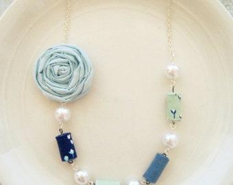 Serenity Blue Rosette Statement Necklace, Bib Necklace, Bridesmaid Necklace,Rosette Statement Necklace, Summer Necklace,Fabric bead Necklace