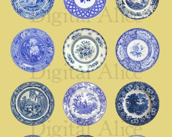 ANTIQUE BLUE PLATES Craft Circles  -Instant Download Digital Printable-  -Bottlecaps Collage Sheet - 4 sizes - DiY Print as many as you like
