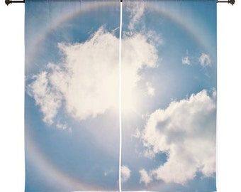 Schiere Vorhänge - Home Decor, blauer Himmel, Wolken, Regenbogen Halo, Naturfotografie von RDelean Designs