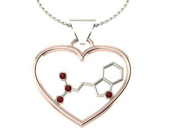 "2Tone molecule DMT ""spirit"" solid gold love pendant set with genuine birthstones - Molecular Bliss"
