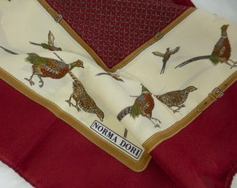 Norma Dori Vintage Fashion Accessory Italian Scarf with Male and Female Pheasants - Burgundy Red and Cream – 30 x 29 in - Made in Italy
