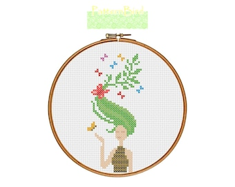 Summer Girl. Instant Download PDF Cross Stitch Pattern