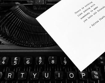 Sylvia Plath hand typed quote vintage typewriter valentines gift